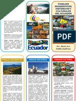 Triptico Paisajes Geográficos Ecuador