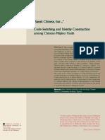 Code-Switching and Identity Construction among Chinese-Filipino youth