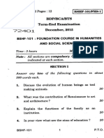 IGNOU BSHF Question paper December 2015