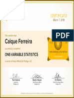 One Variable Statistics Certificate