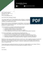 Cindrella Kinny Cover Letter