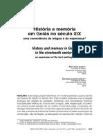 História e Memória Em Goiás No Século XIX