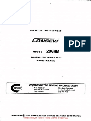 Consew 206RB /& 206RB-1 Sewing Machine Operator Instructions Manual