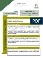 Licence professionnelle Ingénierie de l'Informatique Médicale