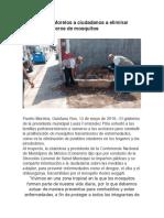 15-May-2019 Invita Puerto Morelos a Ciudadanos a Eliminar Posibles Criaderos de Mosquitos