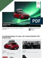 Corolla Hatchback, 5 Vrata, 1.2L Turbo (116 KS), CVT, EXECUTIVE