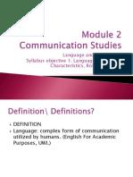Module 2 Communication Studies Lesson 1