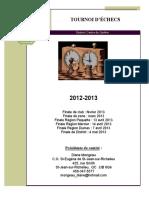 TOURNOI D'ÉCHECS. DCQ. 2012-13