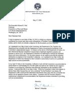 Secretary Mnuchin Letter to Chairman Neal 2019-05-17
