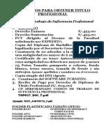 Requisitos Para Titulo Por Trabajo de Suficiencia Profesional - UPLA