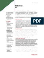 Oracle Warehouse Management Data Sheet