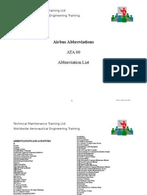 Airbus Abbreviations (Full) | Air Traffic Control | Celsius