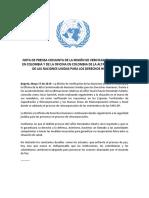 NOTA DE PRENSA CONJUNTA DE LA MISIÓN DE VERIFICACIÓN DE LA ONU EN COLOMBIA Y DE LA OFICINA EN COLOMBIA DE LA ALTA COMISIONADA DE LAS NACIONES UNIDAS PARA LOS DERECHOS HUMANO