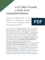 Descifran El Códice Voynich
