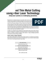 Article- High Speed Thin Metal Cutting Using Fiber Laser Technology