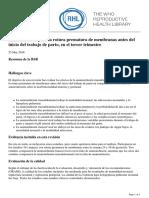 RHL - Amnioinfusión Para La Rotura Prematura de Membranas Antes Del Inicio Del Trabajo de Parto, En El Tercer Trimestre - 2016-06-23
