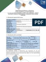 Guía Actividades y Rúbrica de Evaluación - Fase 6. Controlar y Valorar - Seguimiento y Evaluación Final Trabajo Realizado