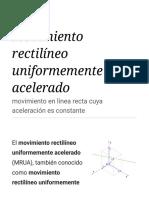 Movimiento Rectilíneo Uniformemente Acelerado - Wikipedia, La Enciclopedia Libre