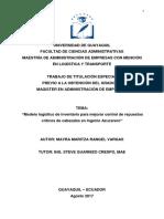 Modelo Logístico de Inventario Para Mejorar Control de Repuestos Críticos de Cabezales en Ingenio Azucarero