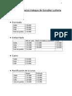 Listado de precios trabajos de González Lutheria