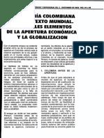 LA ECONOMÍA COLOMBIANA EN ELCONTEXTO MUNDIAL. PRINCIPALES ELEMENTOS DE LA APERTURA ECONÓMICA Y LA GLOBALIZACION