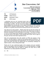 Aranza Memo to Employees 11-4-10