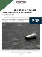 Asesinan a Líder Social en La Región Del Catatumbo, Norte de Santander _ ELESPECTADOR.com