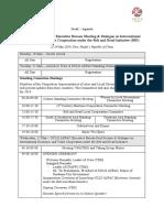 Schedule of the Executive Bureau Meeting and International Dialogue