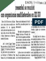 Dirigencia Empresarial Se Reunira Con Organismos Multilaterales en EEUU - El Nacional 16.06.1989