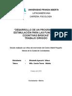 """""""DESARROLLO DE UN PROGRAMA DE ESTIMULACIÓN PARA LAS FUNCIONES COGNITIVAS BÁSICAS"""" TRABAJO DIRIGIDO"""