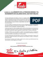 SOBRE EL INCREMENTO DE LA PENSION MINIMA Y EL INCREMENTO DE SALARIOS EN EL SECTOR PUBLICO