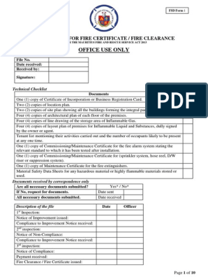 Application for Fire Certificate Fire Clearance | Fire