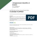 Developpementdurable 8522 Vol 1 n 2 Le Paysage en Politique