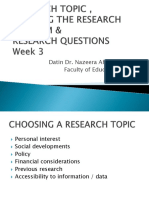 Research Problems, Research question and Types of Research