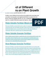 The Effect of Different Fertilizers on Plant Growth