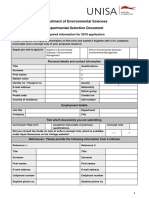 Department Environmental Sciences Departmental Selection Application