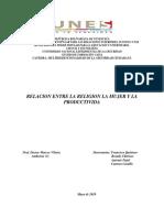 Relacion Entre Religion Condicion  de la Mujer y Producctividad Trabajo Final