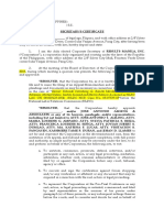 Secretary's Certificate - Catimbang Lts
