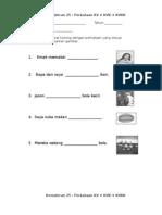 lembaran kerja kemahiran 25 perkataan kv kvk kvkk