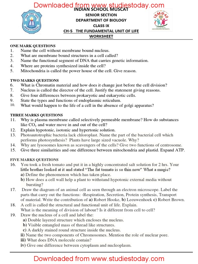 CBSE Class 9 Science Worksheet - Fundamental Unit of Life ...