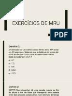 Exercícios de Sala - MRU
