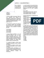 Lista 5 - Calorimetria I