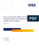 Visa 3-D Secure (3DS) 2.0 Product Provider (ACS) Pre-Implementation Guide and Checklist - V 1.0 (1)