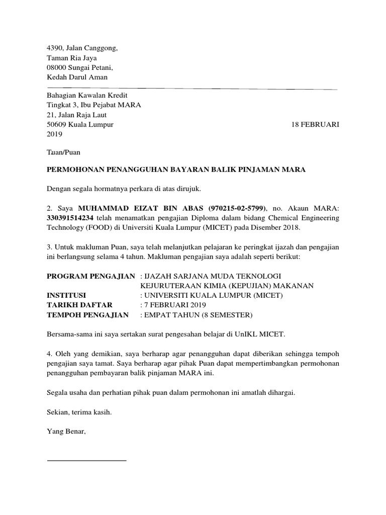 Contoh Surat Penangguhan Bayarak Pinjaman Mara