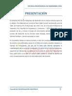 INFORME DE TALLER DE INVESTIGACIÓN CIENTÍFICA.