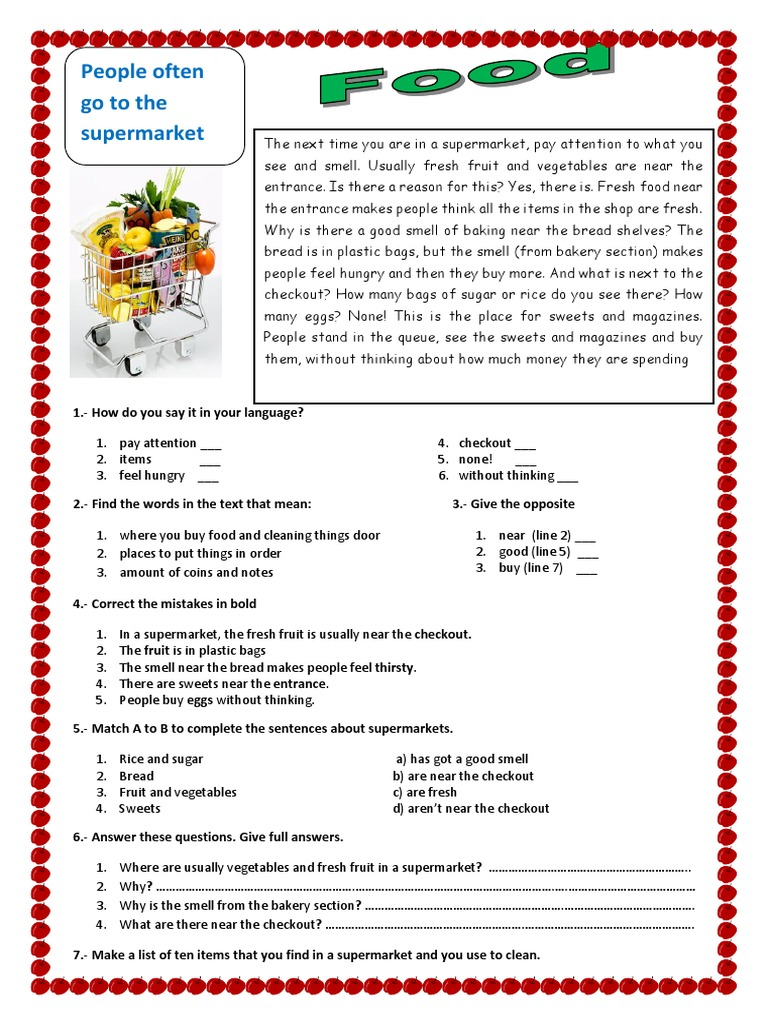 - Food Reading Comprehension Exercises 78940 Supermarket Breads