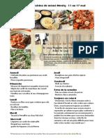 Menu de La Cuisine de Meme Moniq 11 Au 17 Mai