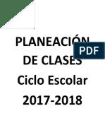 Planeación de Clases 2017-2018