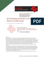 25 Investigaciones Clave en Eficacia Escolar. Martínez-Garrido