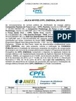 Edital Da Chamada Pública de Projetos Da CPFL Energia Nº 001_2018